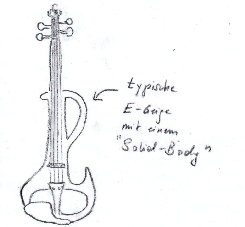 Eine typische E-Geige bzw. E-Violine mit solidem Korpus (Solid-Body)