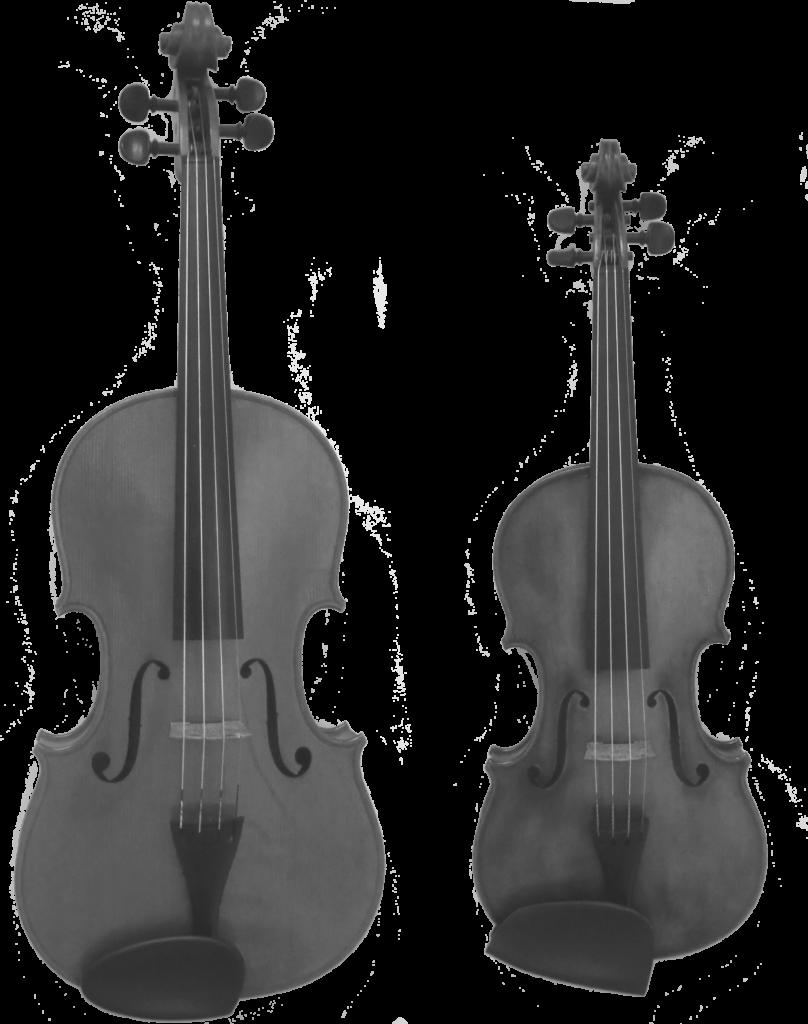 Typischer Größenunterschied zwischen Geige und Bratsche